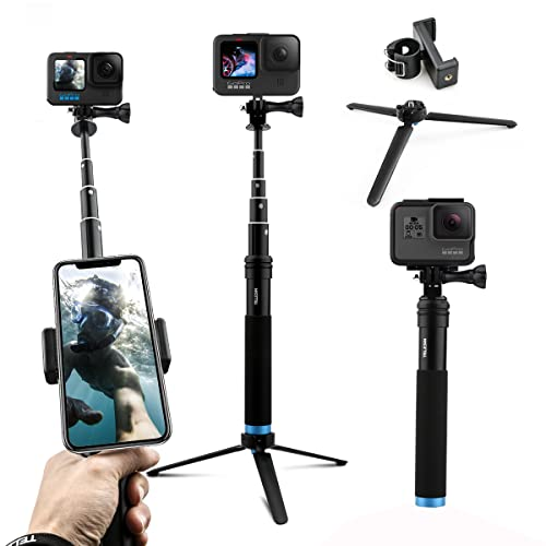 AFAITH Upgraded Pole for GoPro, Aluminum Alloy GoPro Selfie Stick with Stable Tripod Waterproof Handheld Monopod for GoPro Hero 10/Hero 8/Hero 9 Black/7/6/5/4/ Osmo Action Camera/Xiao Yi Action Camera