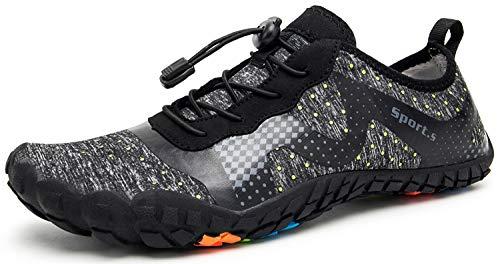 Męskie i damskie buty do wody, szybkoschnące, do uprawiania sportów wodnych na świeżym powietrzu i do lekkiego joggingu, fitnessu, Szary Czarny, 40 EU