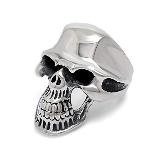 JIANLISP Acero Inoxidable de los Hombres del Motorista gótico Skull Ring Dominante Pulido de la Banda Punk Dientes