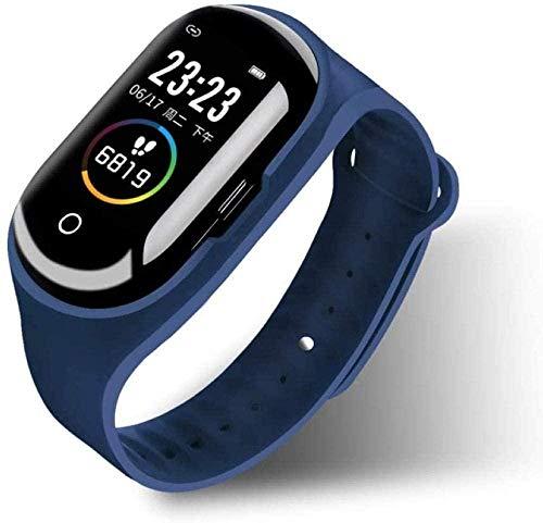 Reloj inteligente con pantalla a color táctil, con Bluetooth 2 en 1, monitor de sueño, podómetro, pulsera de fitness, con auriculares, color rojo y azul