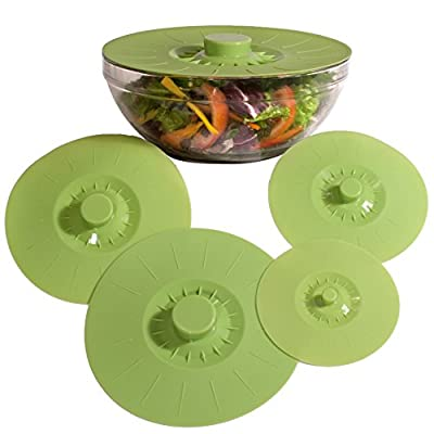 Silicone Bowl Lids, Set of 5 Reusable Suction Seal Covers for Bowls, Pots, Cups. Food Safe