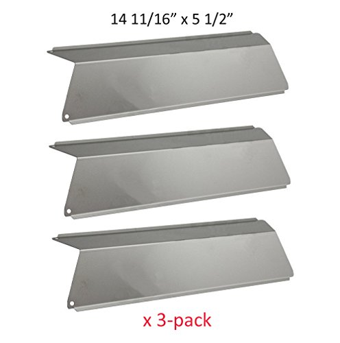 BBQ funland SH5691 (3-pack) Stainless Steel Heat Plates, Heat Shield Replacement for Select Fiesta Gas Grill Models