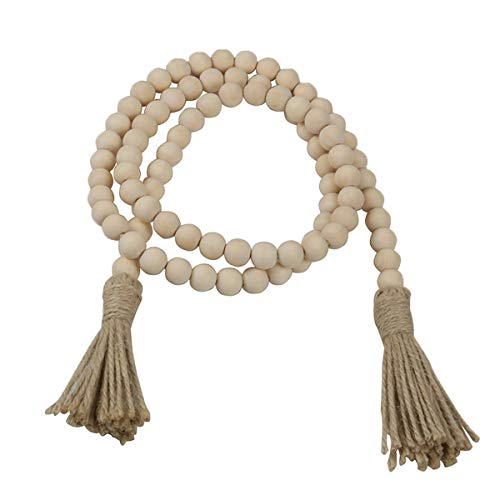 Wooden Beads Garland, Rustic Bead Garland with Tassle for Home Ornaments Holiday Decoration, 66'(16mm)