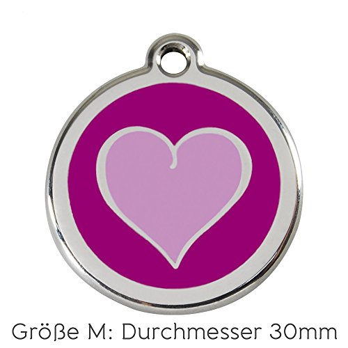 Red Dingo Hundemarke Herz inklusive Gravur (M, violett)
