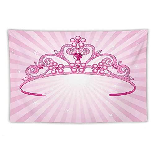 Manta Tapiz Para Colgar En Pared,Hining Corona de disfraz de princesa de hadas rosa con figuras de diamantes para niñas, Estera Picnic Decoración Sala Estar,40x60'
