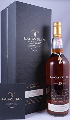 Lagavulin 25 Years Old 200th Anniversary Limited Edition Whisky mit Geschenkverpackung (1 x 0.7 l)