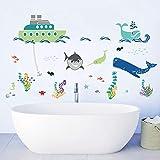 decalmile Bajo el Mar Pegatinas de Pared Barco Tiburón Peces Adhesivos Decorativos para Habitación Infantiles Guardería Niños Bebés Dormitorios Baños