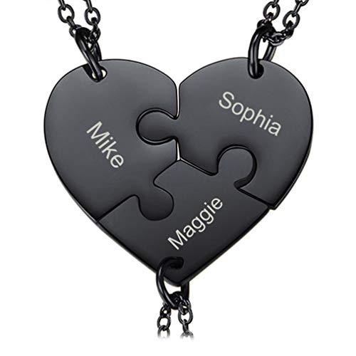 PROSTEEL 3pcs Puzzle-Teile Anhänger Halskette personalisiert schwarz Edelstahl Herz Puzzle Name Gravur Partnerschaftsketten Schwestern Freundinnen Familien