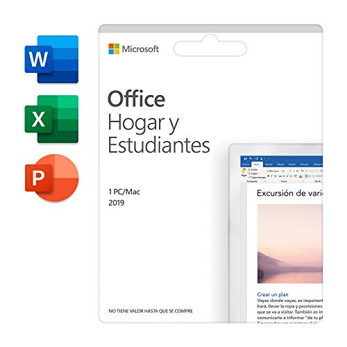 Microsoft Office Hogar y Estudiantes 2019 Todas las aplicaciones de Office 2019 para 1 PC/MAC Código de activación enviado por correo