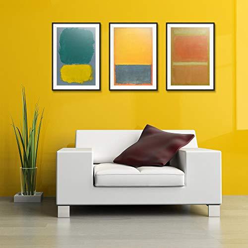 XQWZM Abstrakte Poster, Mark Rothko Amerikanischen Stil Ölgemälde Spray Leinwand Malerei Wandkunst Bilder, Für Wohnzimmer Wohnkultur 50X70 cm / 3 Stücke
