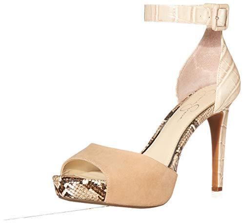 Jessica Simpson Women's Divene Heeled Sandal, Almond, 8