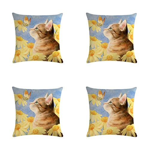 Cat Pattern Lh3955 Cushion Cover, Used For Home Decoration, Sofa Seat, Car Pillow Cover 45X45Cm 4-Piece Set
