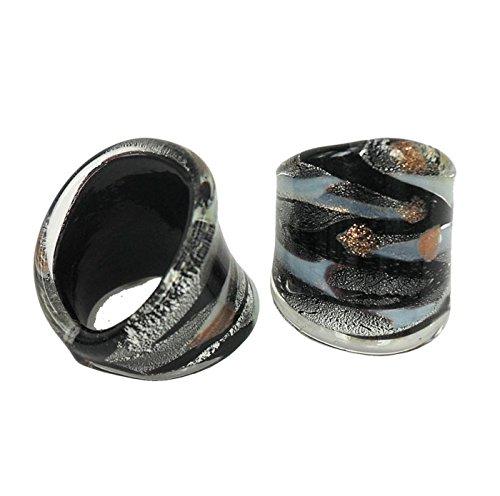 Anillo cabujón de cristal de Murano hecho a mano (tamaño: 19)