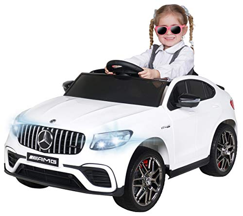 Actionbikes Motors Kinder Elektroauto Mercedes Benz Amg GLC 63S Coupe - Lizenziert - 2,4 Ghz Fernbedienung – 4x4 Allrad - Elektro Auto für Kinder ab 3 Jahre (Weiß)