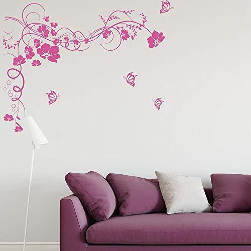 FXBSZ Anpassbare florale Wandaufkleber hängen Rattan Schmetterling Blume Wandaufkleber Wohnzimmer Schlafzimmer Dekoration Wandaufkleber Orange 100cm x 77cm