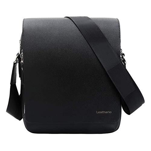 Leathario Men PU Leather Shoulder Bag Small Men Messenger Bag Crossbody Satchel Bag ipad Bag for Men (Black-L)