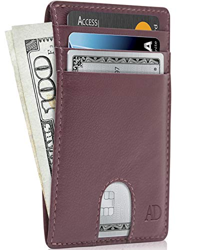 Slim Minimalist Wallets For Men & Women Leather Front Pocket Thin Mens Wallet RFID Credit Card Holder Gifts For Men