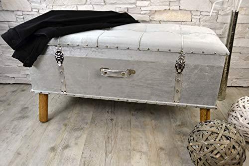 Livitat® Hocker Polsterhocker Suitcase Pouf Truhe Staufach Truhenbank Sitzbank Ottomane Silber B90 x T40 x H47 cm LV2077