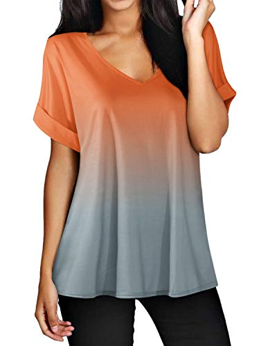 ZANZEA Camisetas Mujer Manga Corta Holgada Top Tallas Grandes Baratas Cuello V Casual Blusa Suelta T Shirt 02-Naranja S