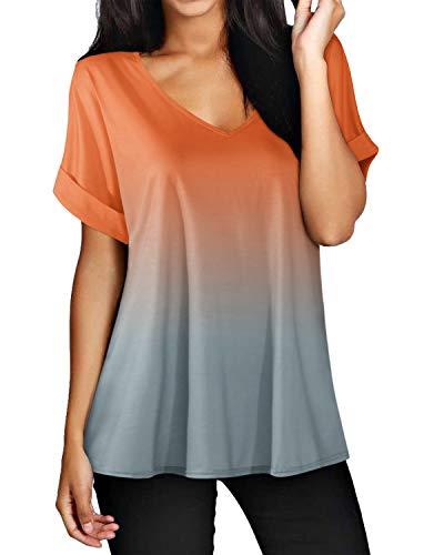 ZANZEA Camisetas Mujer Manga Corta Holgada Top Tallas Grandes Baratas Cuello V Casual Blusa Suelta T Shirt 02-Naranja XL