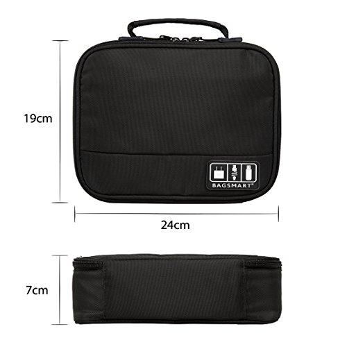 『(バッグスマート)BAGSMART PC周辺小物用収納ポーチ ベルクロ式仕切り iPad Mini2収納可 ブラック』の3枚目の画像