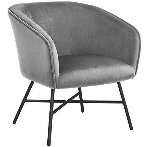 Yaheetech Esszimmerstuhl aus Stoff Retro Design Samt Stuhl mit Rückenlehne Sessel Metallbeine Grau