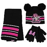 Disney Girls Winter Hat, Minnie Mouse Kids Beanie, Mittens Scarf, Black/Pink, Glove Set, Age 4-7