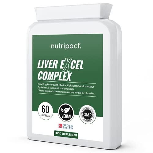Liver Support Supplement - 60 Vegan Capsules - for Liver & Gallbladder - 12x Natural Active Ingredients - Choline, Turmeric, Aged Garlic, Alpha Lipoic Acid, NAC + UK Made to GMP Standards