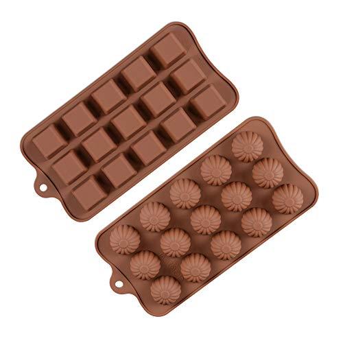 Moldes Silicona Bombones, Moldes Rectangulares y Esféricos para Dulces de Chocolate, Dos Bandejas de Moldes para Hornear de 15 Cavidades de Diferentes Formas para Hacer Chocolate, Pastel Mousse