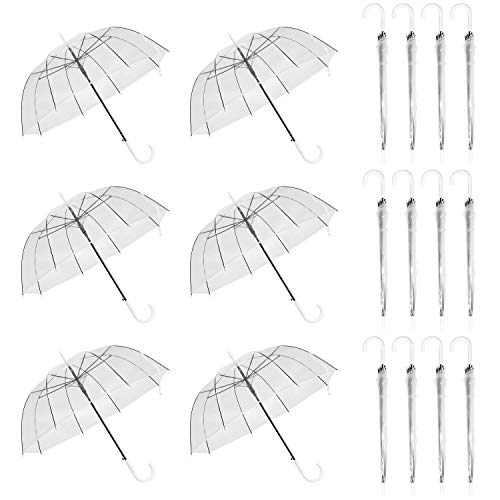 WATINC 18 Pack 46 Inch Clear Bubble Umbrella Large Canopy Transparent Stick Umbrellas Auto Open Windproof with White European J Hook Handle Outdoor Wedding Style Umbrella for Adult