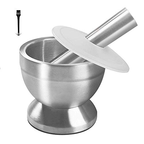 OVERWIND Mortar and Pestle Set Food Grade 18/8 Stainless Steel Spices Pills Crusher Grinder Herb Bowl for Fine Powder Capacity: 1 Cup