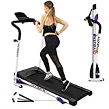 Folding Treadmill, 2.25HP Electric Treadmill for Home with Monitor Motorized, Safety Key, Running Exercise Machine with 3 Levels Manual Incline, Ipad/Phone Holder for Fitness, Jogging, Walking
