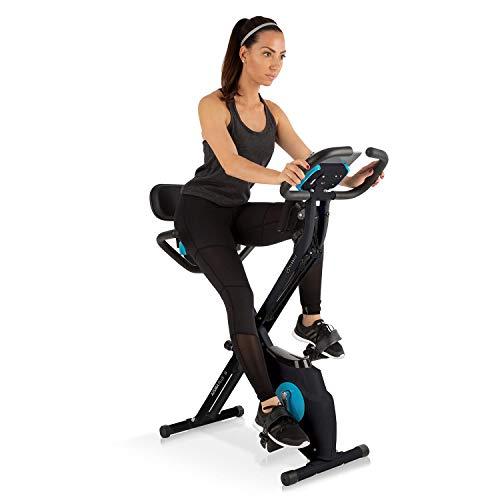 Capital Sports Azura Plus 3-in-1 Heimtrainer - Fitnessbike, Fitness-Fahrrad, Cardio-Training, Riemenantrieb, Pulsmesser, Flexible Zugbänder, 8-stufiger Magnetwiderstand, Tablet-Halterung, schwarz