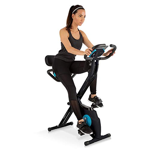 Capital Sports Azura Plus 3-in-1 Heimtrainer - Fitnessbike, Fitness-Fahrrad, Cardio-Training, Riemenantrieb, Pulsmesser, Flexible Zugbänder, 8-stufiger Magnetwiderstand, Tablet-Halterung, schwarz
