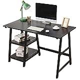sogesfurniture Escritorio de Oficina 120 x 60cm Mesa de Ordenador Mesa de Trabajo Escritorio para Computadora con 2 estantes, de Madera y Acero, Negro TPlus-BK-BH