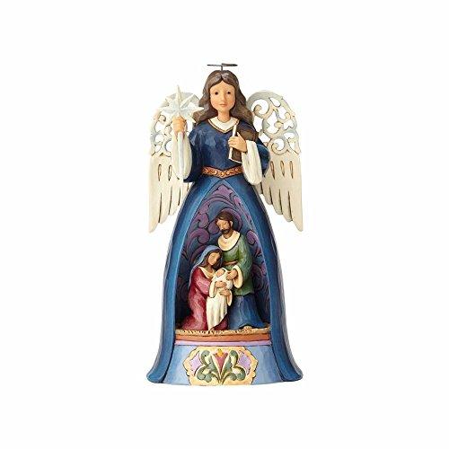 Enesco 4058798 Un Angelo Custode per la Sacra Famiglia, 26 cm, Resina, Multicolore, 23x23x26 cm