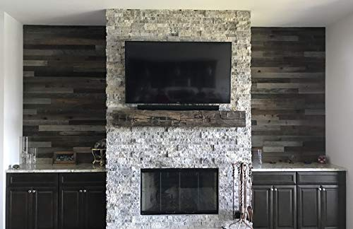 Plank and Mill - Reclaimed Barn Wood Wall Panels - Simple Peel and Stick Planks for Accent Walls, Kitchens, and Other Projects - 10 Square Feet of 3' Wide: Classic Barn Wood