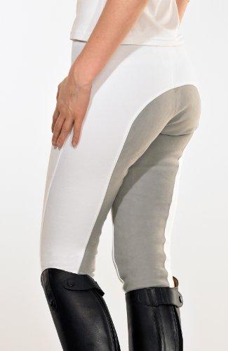 PFIFF Damenreithose mit Ledersitz mit grauem Sitz, weiß, 42