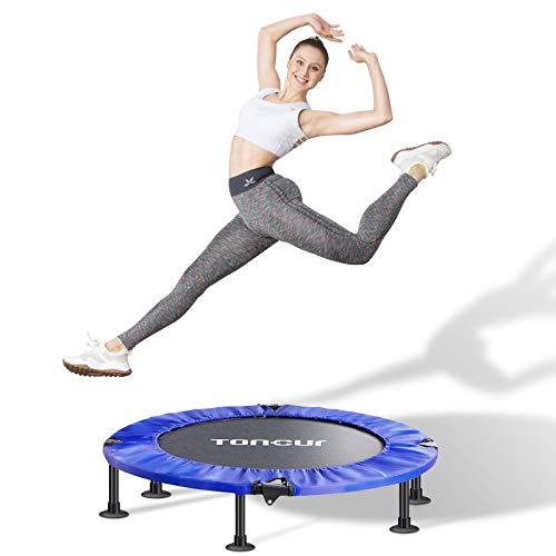 Toncur Mini 36' Trampoline Fitness Foldable for Adults and Kids with Safety Pad/Anti-Skid Suction Cups, Stable & Quiet Exercise Rebounder Trampoline for Indoor/Garden Workout Max Load 330 lbs