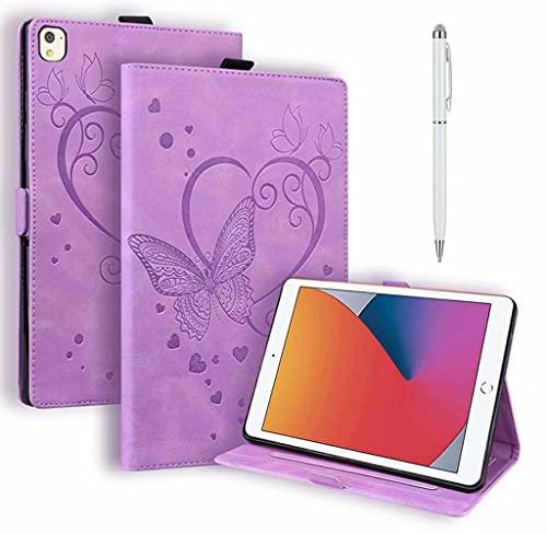 DYGG Compatible con Funda Apple iPad 5th/6th.iPad Air 1.iPad Air 2.Apple iPad 9.7 Inch 2017/2018.iPad Pro 9.7-Inch Carcasa con lápiz táctil Auto-Sueño/Estela,púrpura