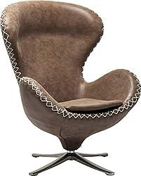 Kare Design Drehsessel Lounge Bonanza, bequemer, moderner Cocktailsessel, XL Chillout Clubsessel im Retro-Design, Hellbraun (H/B/T) 106x82x77cm