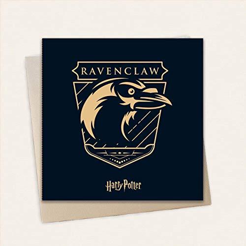 Harry Potter Ravenclaw Geburtstagskarte – hochwertige Gold geprägte Karte   inkl. 1 x Eco Craft Umschlag   15 x 15 cm   Offizielles Harry Potter Merchandise Lizenzprodukt