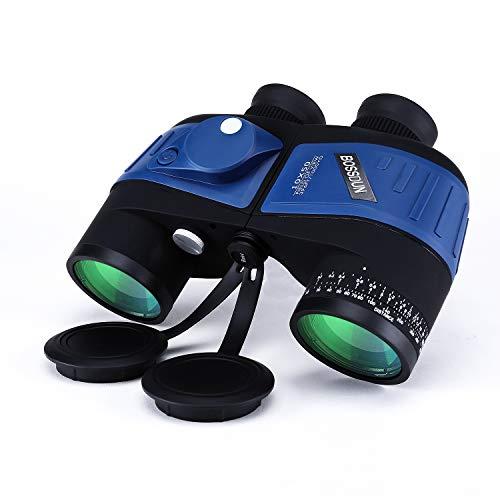 10X50 Marine Militärfernglas für Erwachsene, Wasserdichtes Fernglas mit Entfernungsmesserkompass BAK4 Prism FMC Objektiv für die Vogelbeobachtung Jagdboot