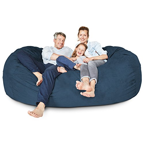 Lumaland Luxury Bean Bag Chair - 7' Ultra Soft Bean Bag with Microsuede Cover - Machine Washable Big Bean Bag, Ideal Furniture for Kids Bedroom, Dorm Room and Living Room - Navy Blue