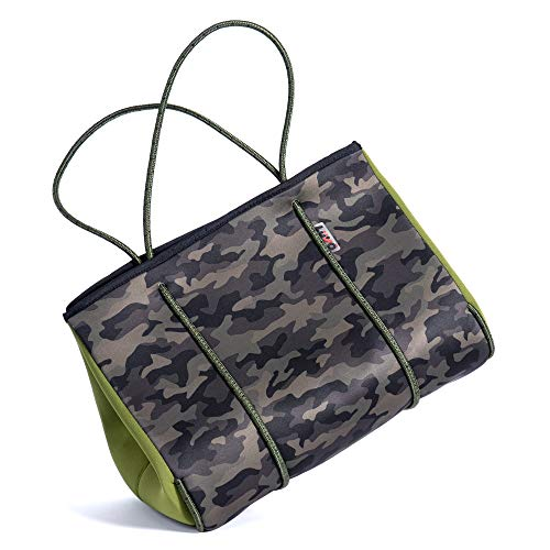 LuVo - Women's Neoprene Phantom Tote Handbags - Travel - Army Camo