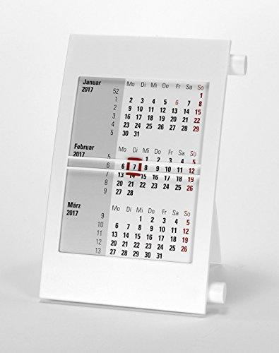 HiCuCo 3-Monats-Tischkalender für 2 Jahre (2020 und 2021) - Aufstellkalender - mit Drehmechanik - weiß - TypD1