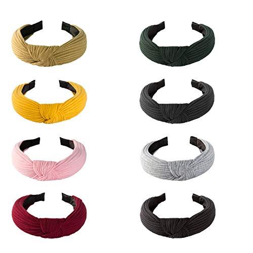Geniusus 8 unidades de diademas anchas lisas de 8 colores de nudo turbante diadema de moda banda elástica para el pelo accesorios para mujeres y niñas