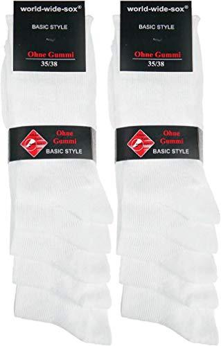 world wide sox | Socken & Strümpfe für Damen | Gerippt Bright Ohne Gummidruck | 10 Paar | weiß | 35-38