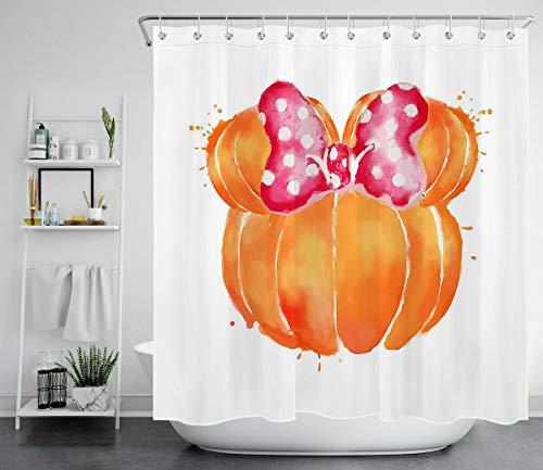 Aquarell Herbst Kürbis Schleife süße Maus HD-Druck, wasserdichter Duschvorhang für das Badezimmer, 12 Haken kostenlos, 180x180cm