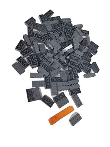 LEGO Classic. 100 Stück 2 x 4 Steine mit Steinetrenner (dunkelgrau)